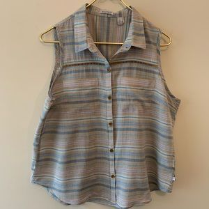 Toad&Co button down sleeveless shirt sz L